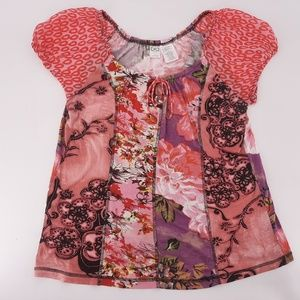 Billabong contrasting print beaded blouse